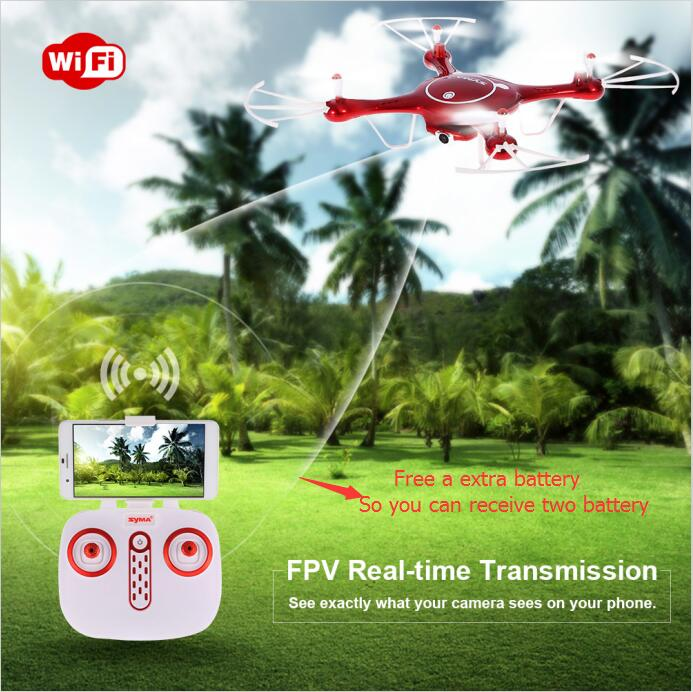 Free a extra battery Wifi FPV Quadcopter X5UW RC Drone With 720P HD wifi Camera RTF Headless Mode and Barometer Set Height original syma x8sw wifi fpv hd camera drone 2 4g 4ch 6 axis rc quadcopter with barometer set height mode rtf toys