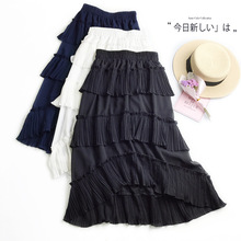 Chiffon High Quality 2019 New Women Lace Skirt Hollow Out White Black Spring Plus Size skirts