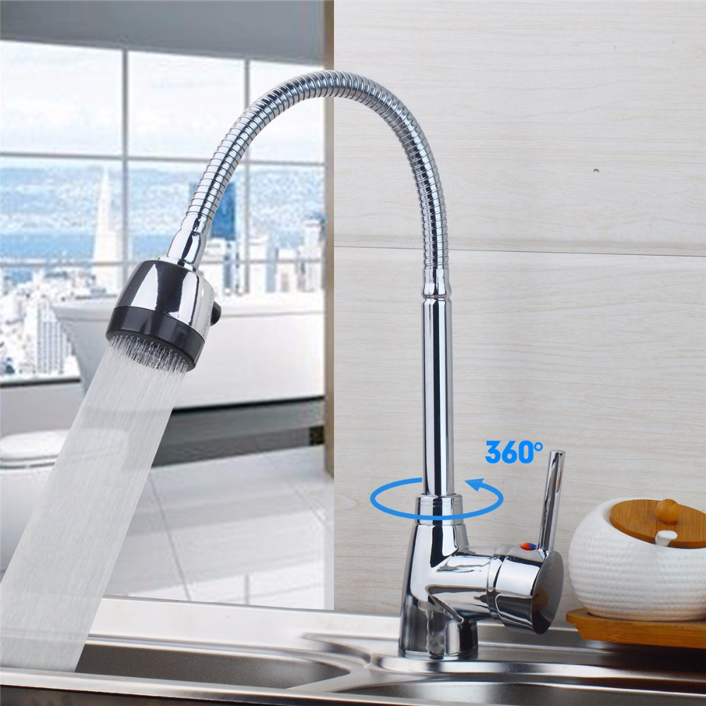 Contemporary Chrome Finish Solid Brass Kitchen Faucet Two Spouts Deck Mount Mixer Faucet