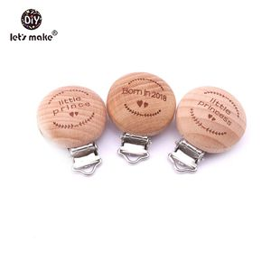 Image 3 - Lets Make Pacifier Clip 50pc Round Wooden Engrave Customizable Personalise Wooden Dummy Clip Accessory Baby Teether 29*35mm