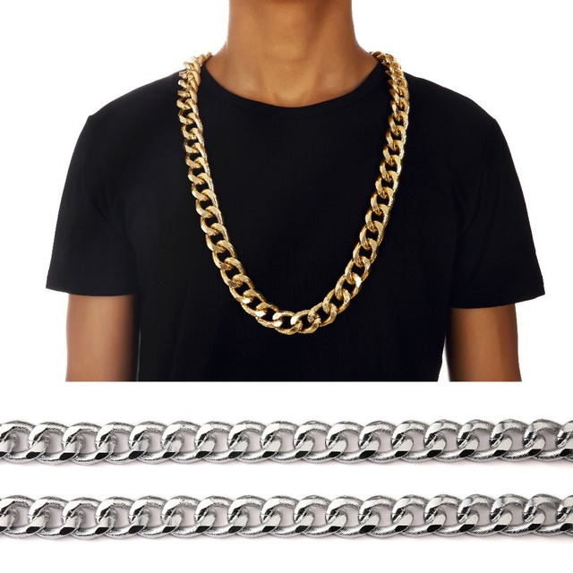 "Mens 35"" Hip Hop Empire Chunky Cuban Link Chain 21 mm Bling Long Necklace Gifts Mens Jewelry Gold Silver Color Free shipping"