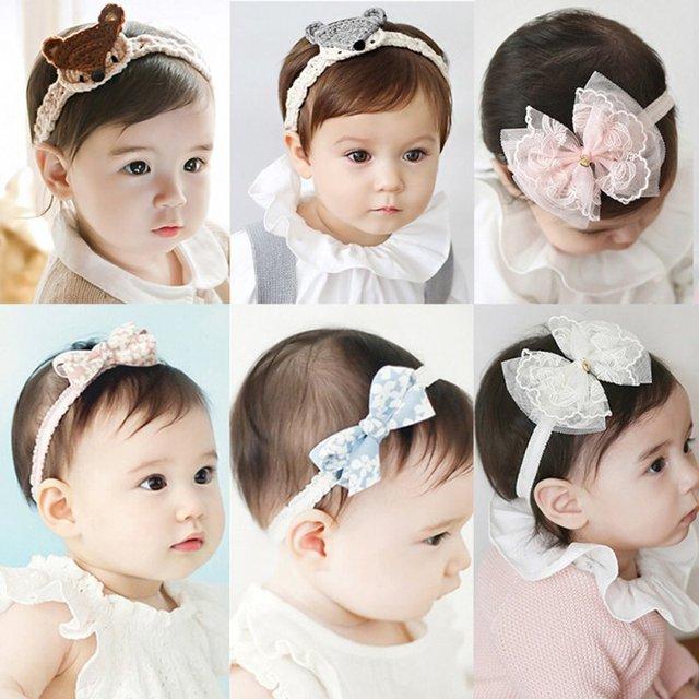 60c4c6bc572f Flower Headband Babies Pink Lace Bow Hairband Toddler Baby Girls Felt  Flower Headbands 4 Kind