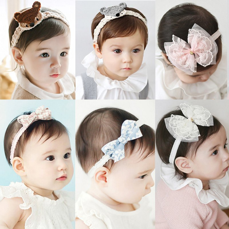 Flower Headband Babies Pink Lace Bow Hairband Toddler Baby Girls Felt Flower Headbands 4 Kind
