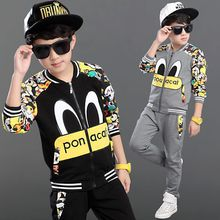 spring and autumn cartoon animal pattern children clothes kids clothing sets for baby boys 2pics/suit christmas gifts