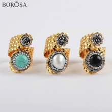 BOROSA 5Pcs New Gold Color Double Round Rhinestone Paved Pearl Blue Howlite Turquoises Black Agates Band Ring Jewelry JAB963