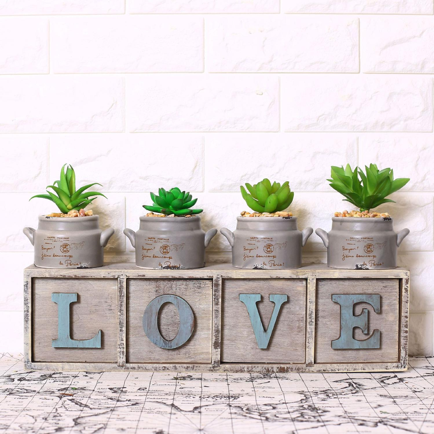 Realistic plastic plants garden succulent grass desert for Artificial plants for decoration