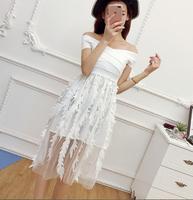 Women2017winter Beautiful Party Club Dress Bandage Corset Top 3D Perspecitve Gauze Gentlewoman Ladies Princess Vestidos Elegant