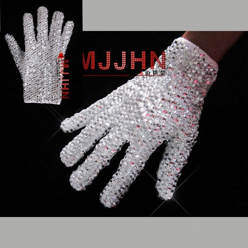 HAND MADE MJ MICHAEL JACKSON BILLIE JEAN SINGLE SIDE SHINNING RHINESTONE GLOVE