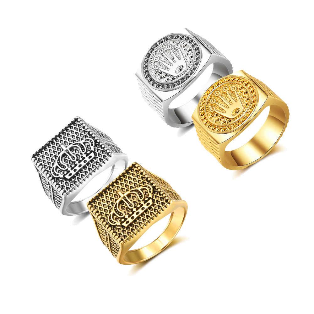 2019 Hot sprzedaży męska pierścionki biżuteria bliski wschód kraju pozłacane Hip Hop/Rock złoto srebro korona na ślub party prezent