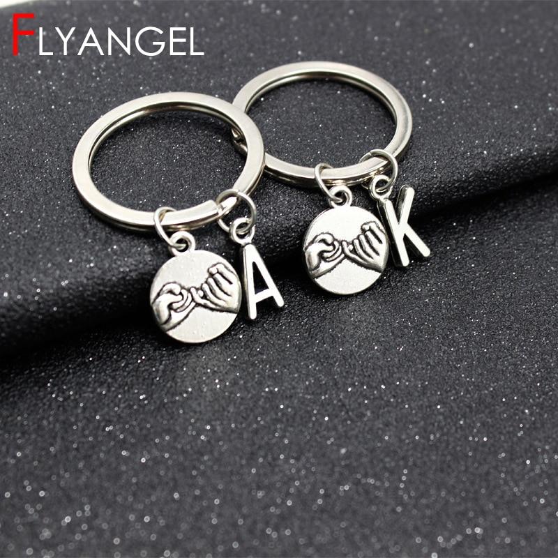 Custom A-Z Initial Letter Pinky Promise DIY Keyring For Best Friend Couple Boyfriend Girlfriend Gift Men Women Fashion Keychain