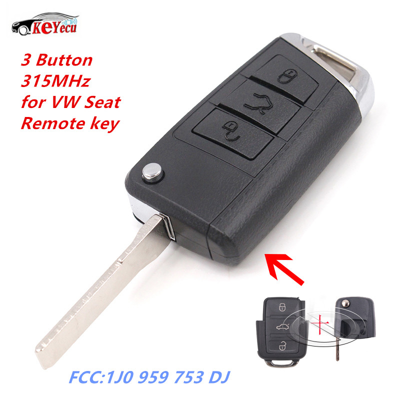 KEYECU Modified Golf 7 Stylish Remote Key Fob 315MHz for Volkswagen Bora Golf Sharan Passat SEAT Leon Toledo FCC:1J0 959 753 DJ