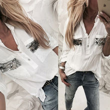 2018 New Women White Blouse Long Sleeve Button-Down Low Cut