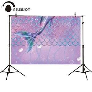 Image 2 - Fotografia allenjoy tło fioletowy ogon syreny skala pod morzem tło dekoracja na urodziny photocall sesja zdjęciowa prop