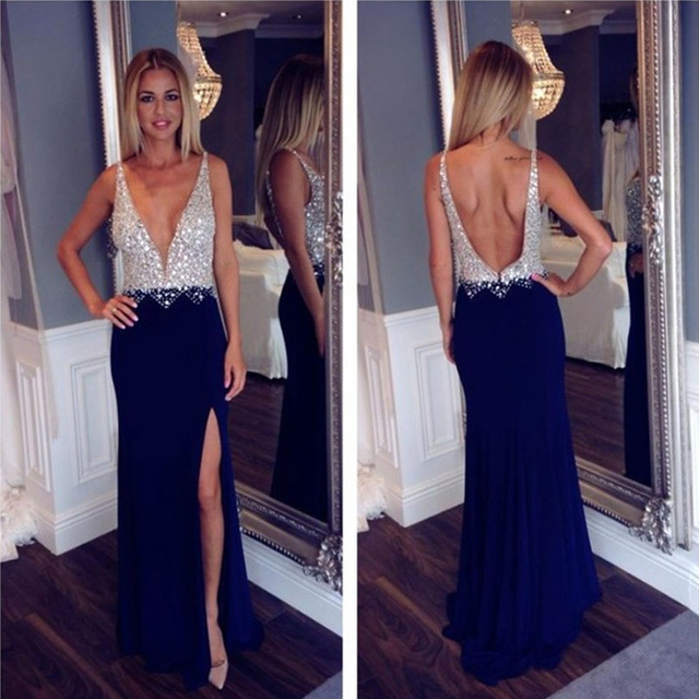 8328a10a376 Sexy Navy Blue Deep V-Neck Beaded Bodice Floor Length Long Open Back Chiffon  Prom Dress With Side Slit 2017 Evening Gowns P21