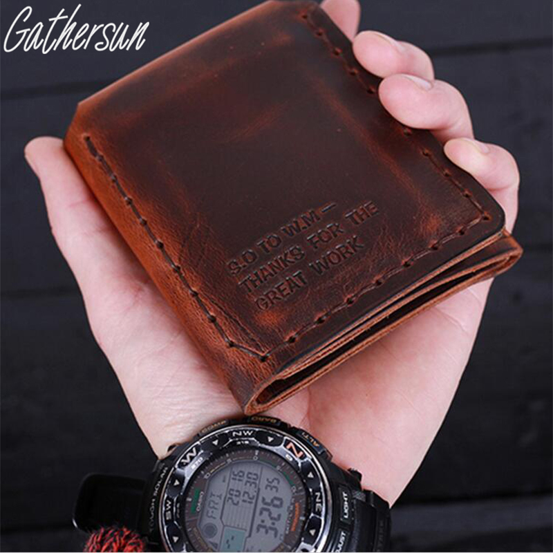 Gathersun Brand Vintage Handmade Crazy Horse Leather Men Wallets Cowhide Short Purse Genuine Leather Wallet Can Wholesale власов александр иванович катрены