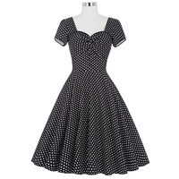 Belle Poque Women Retro Polka Dots Pleated Cotton Dress 50s 60s Vintage Rockabilly Short Sleeve Party Picnic Backless Swing Robe