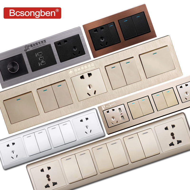 New electronic hotel onepiece pop switch wall plug socket with usb power smart Siamese custom multi-function standard socket