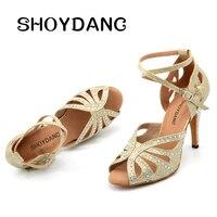 SHOYDANC Dance Shoes Women's Latin Golden Silver Glitter Cloth Dance Shoes zapatos de mujer Rhinestone Salsa Samba Tango Dance