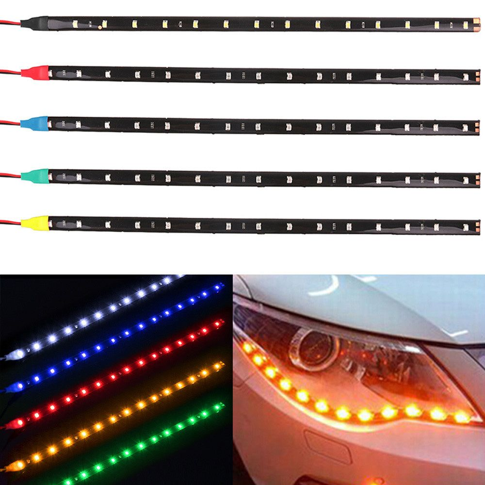 2PC 15 LEDs 30cm 1210 SMD LED Strip Light Flexible 12V Car Decor Waterproof Interior Accessories Ornaments Auto Decorative