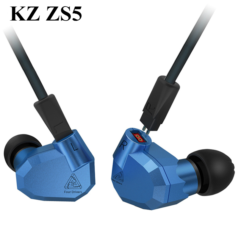 Original KZ ZS5 2DD+2BA Hybrid In Ear Earphone HIFI DJ Monito Running Sport Headphone Earplug Headset Earbud Better Than KZ ZST kz ates ate atr hd9 copper driver hifi sport headphones in ear earphone for running with microphone game headset