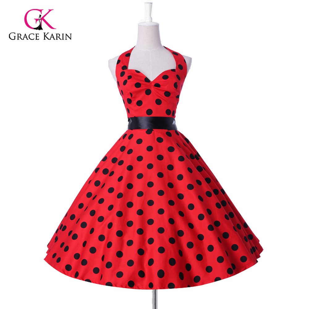 2018 new style Summer Womens Plus size 50s 60s Retro robe Vintage Rockabilly Party   Cocktail     Dresses   Polka Dots Pin up clothing