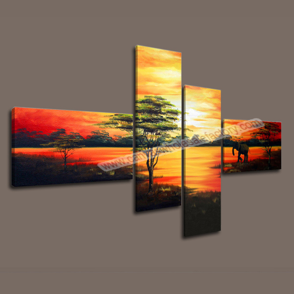 Unframed Home Decor Canvas 4 Panel Wall Art Print Modern Decorative Painting Of Landscape For The
