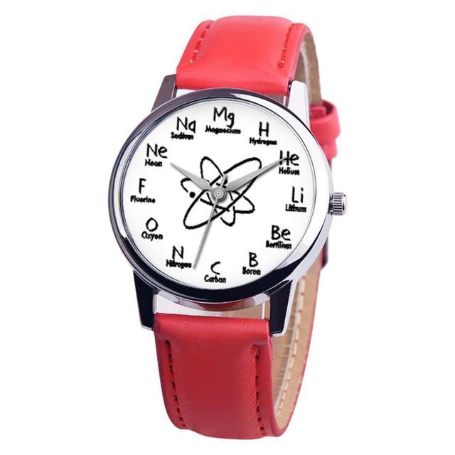 10b3d382ea2 Fantasia Unisex Liga Analógico Pulseira de Couro Relógio de Quartzo  Elementos Químicos Elemento Químico Correia Relógios
