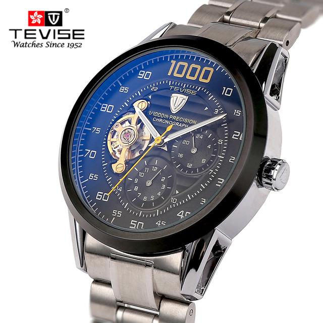 Homens de Aço Cheio Mecânico Automático Relógios Top Marca TEVISE Tourbillon Relógio Cronógrafo Homens Relógio de Pulso Militar Relógios Homens