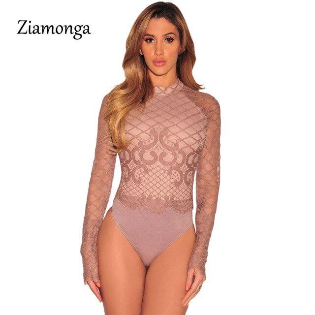 Ziamonga 2017 Sexy O-cou À Manches Longues Dentelle Couture Body Combishort  Décontracté Noir Femmes 53c67c5c0a9