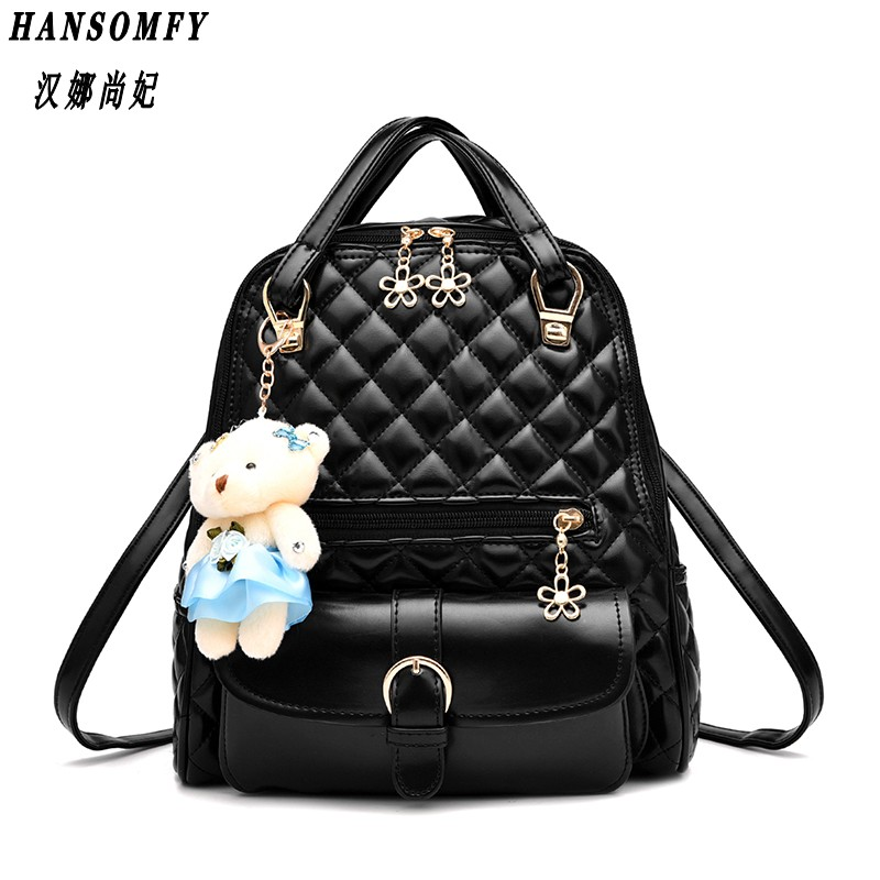 100% Genuine leather Women backpack 2018 New wave of female students backpack spring and summer fashion casual Bear
