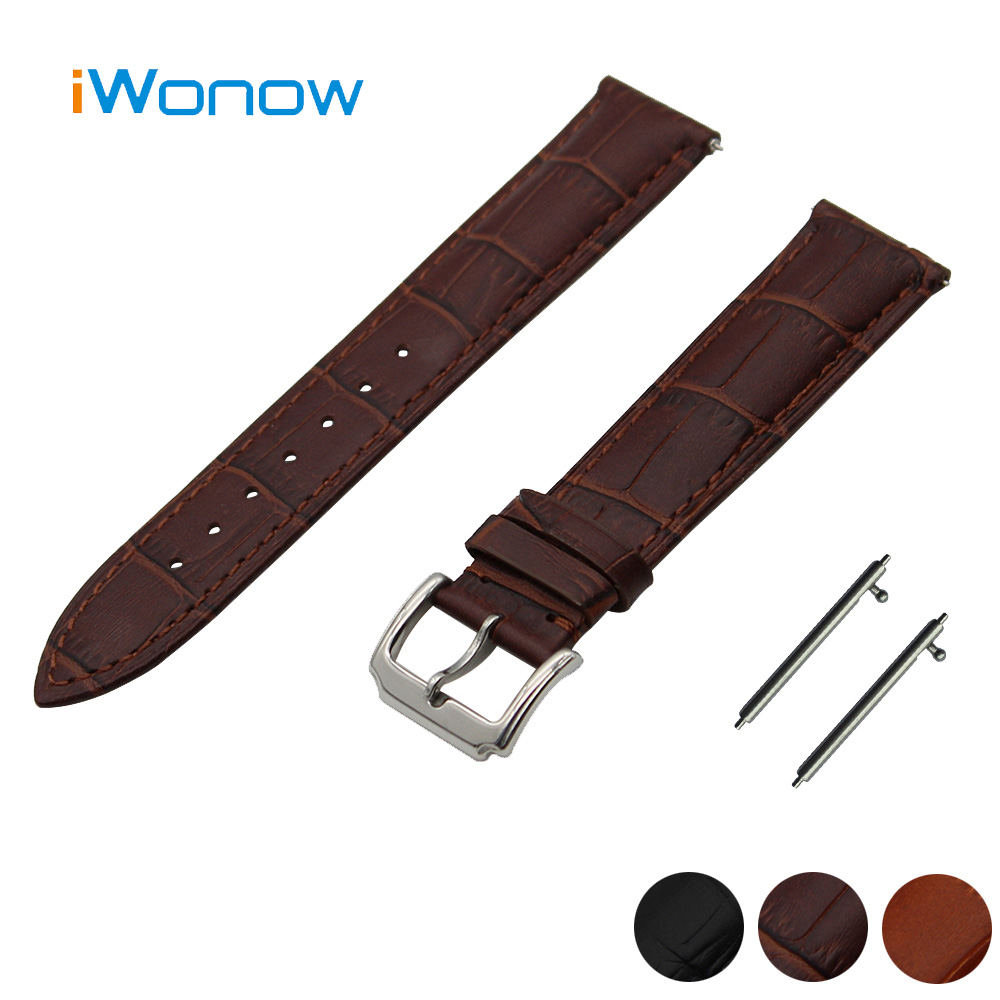 Genuine Leather Watch Band 22mm for Pebble Time / Steel Stainless Pin Buckle Strap Quick Release Wrist Belt Bracelet Black Brown 18mm 20mm 22mm stainless steel watch band quick release pins for seiko replacement strap wrist belt bracelet black gold silver