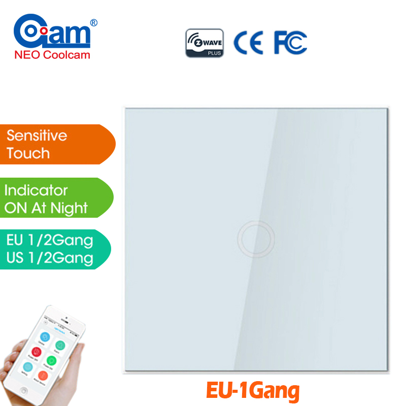 купить NEO COOLCAM NAS-SC01ZE Z-wave Plus 1CH EU Wall Light Switch Home Automation Z Wave Wireless Smart Remote Control Light Switch недорого