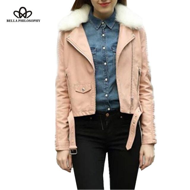Bella Philosophy new fleeced faux fur collar PU leather women pink motor jacket coat zipper