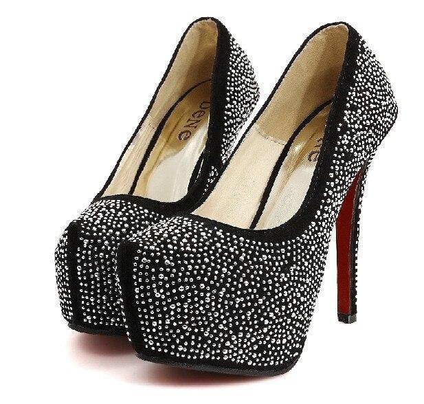 077d382e655 Free shipping Women s Sweet Crystal Platform Pumps Ultra High Heels Red  Bottom Wedding Shoes Black Beige