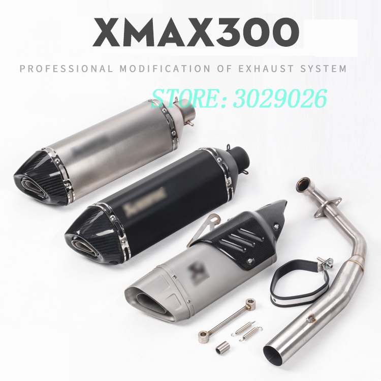 XMAX300 Full System Slip On For YAMAHA XMAX300 Motorcycle CARBON Exhaust Muffler Escape with Front Mid Link Pipe