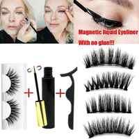 Eyeliner liquide magnétique avec Cils et applicateur sans colle Extension de Cils épais imperméable Cils de maquillage Faux Cils