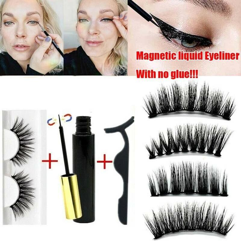 Magnetic Liquid Eyeliner With Eyelashes And Applicator No Glue Waterproof Thick Eyelashes Extension Makeup Lashes Faux Cils