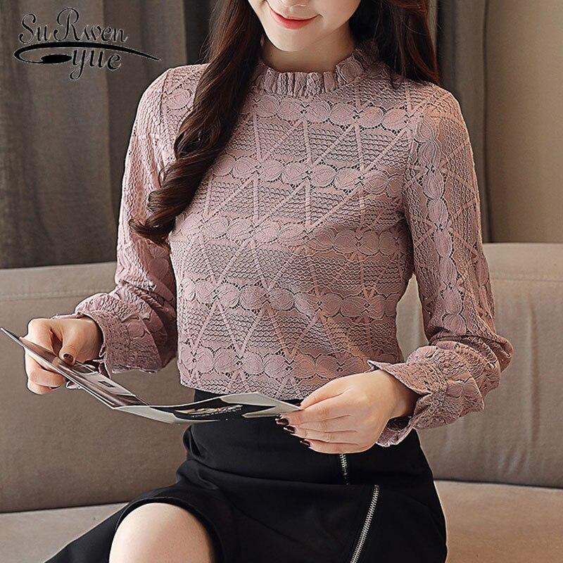 long sleeved lace 2019 autumn women tops fashion elegant women   blouse     shirts   causal blusa femininas womens clothing 1362 45