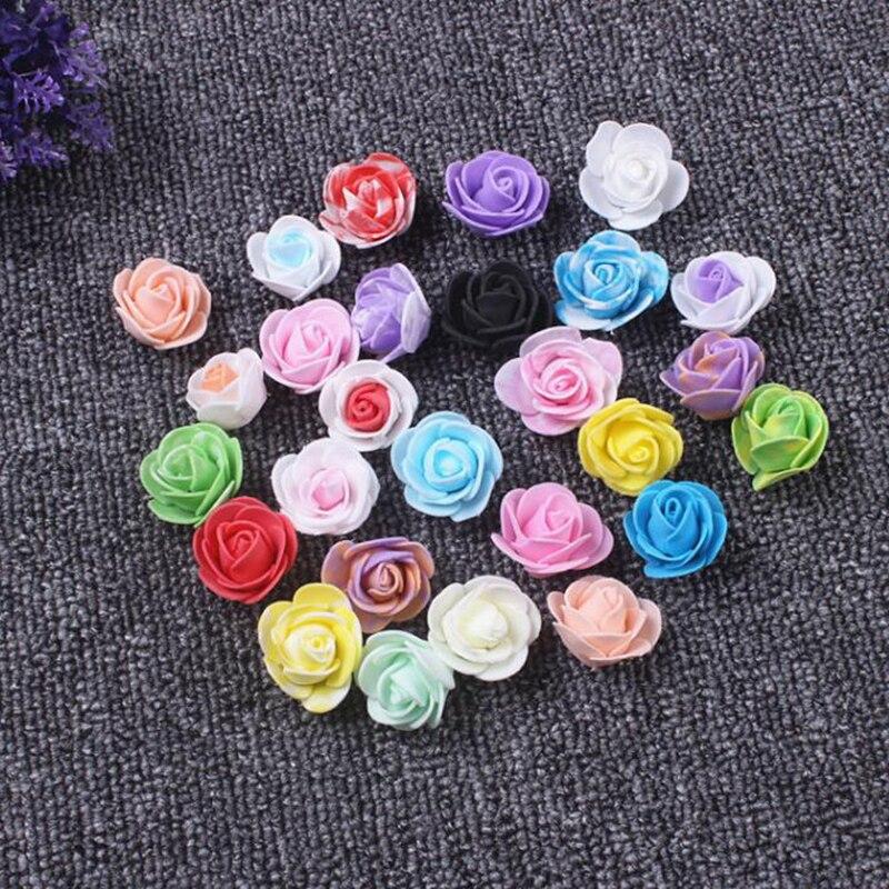 200 pcs/lot 3 cm Rose artificielle soie fleur Mini PE mousse artificielle Rose fleurs mariage décoratif fleurs couronnes