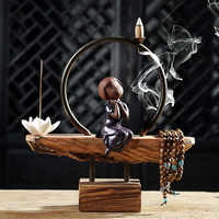 Creative Home Decor Lovely Ceramic Monk Backflow Incense Burner Lotus Stick Incense Wooden Base Art Decorative Christmas Gifts