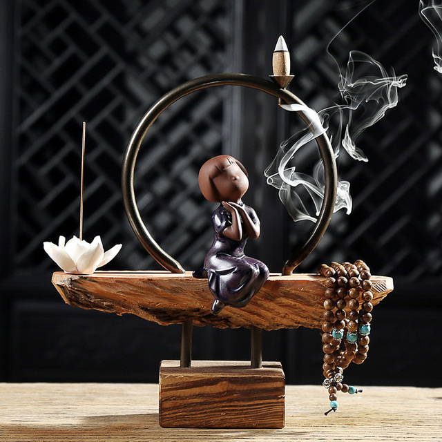 New Age Home Decor: Creative Home Decor Lovely Ceramic Monk Backflow Incense