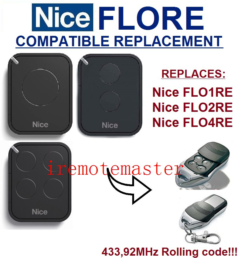 The remote replace For Nice remote FLO1RE,FLO2RE,FLO4RE 433,92MHZ Rolling code remote teak house зеркало напольное ferum