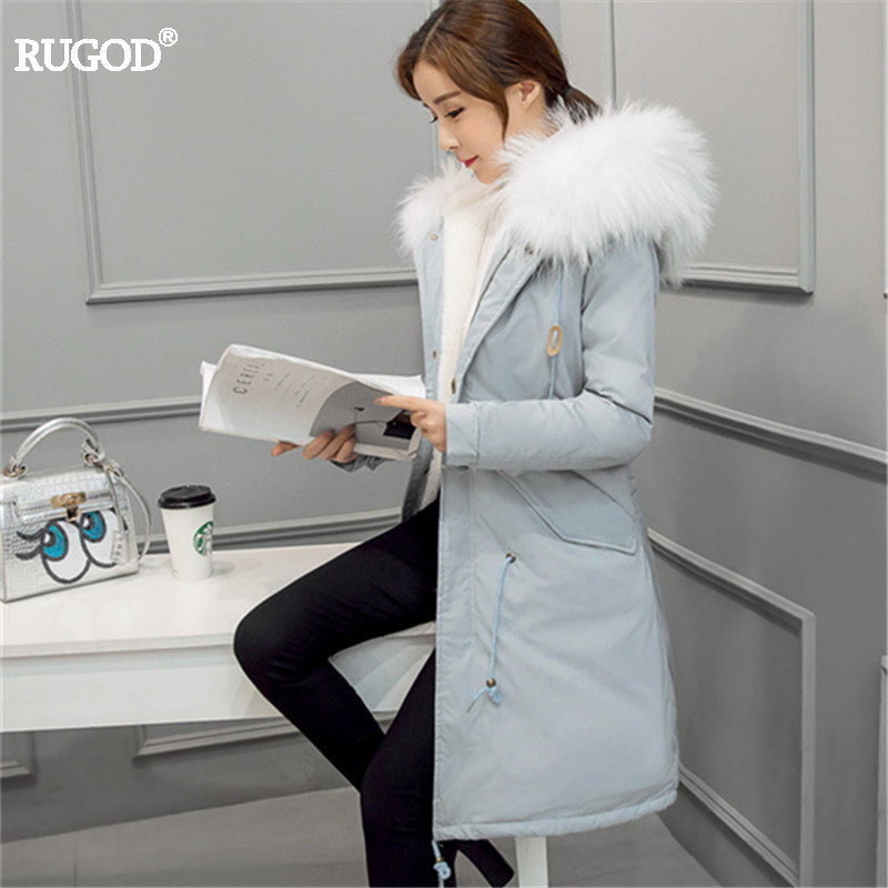 Rugod 2017 New Korean Winter Jacket Women Thickening Cotton Hooded Parka Femme Fur Collar Winter Coat Warm Outwear Plus Size nice new winter coat women jacket faux fur collar warm jack hooded women long coat cotton jacket parka casaco plus size