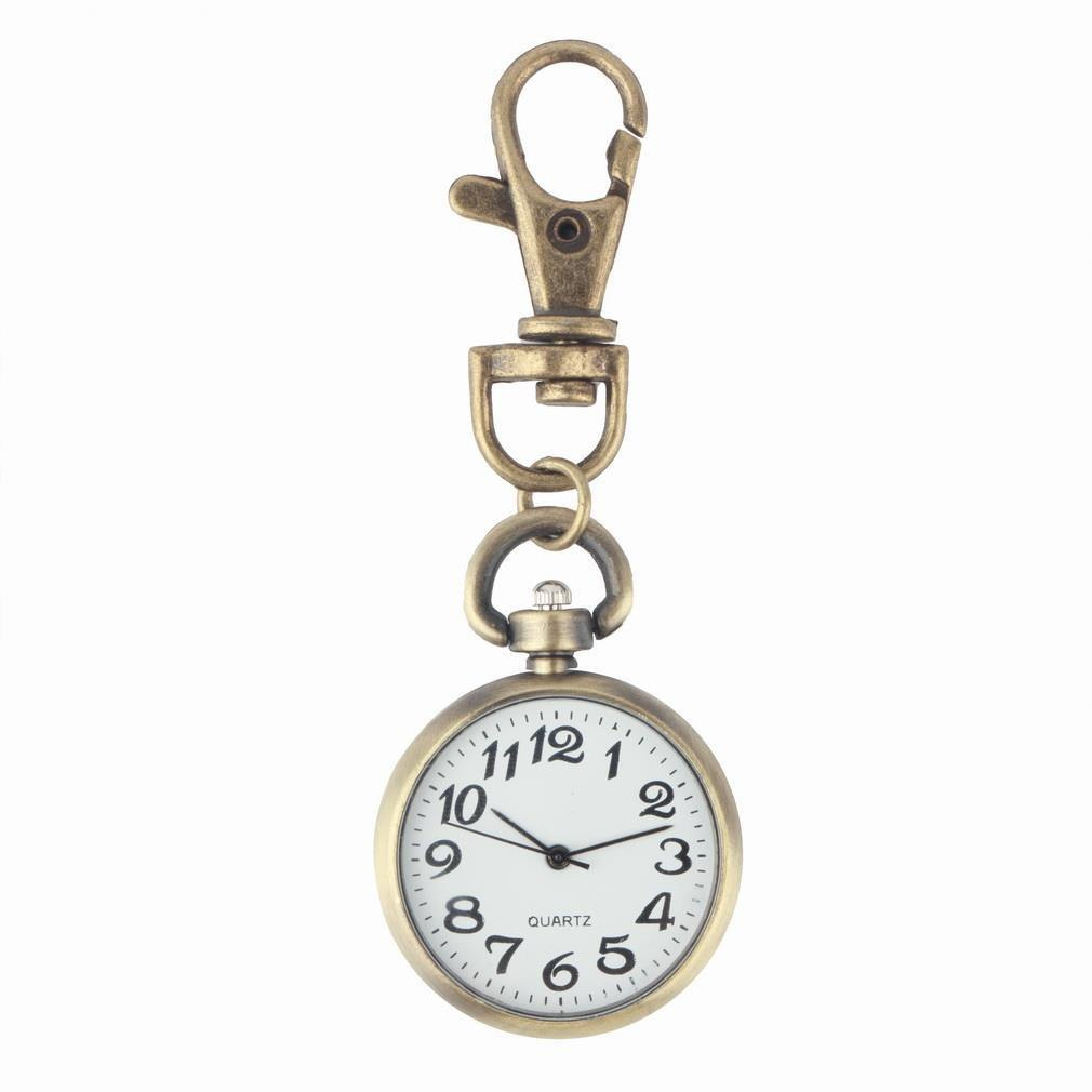 1pcs Retro Bronze Quartz Vintage Pocket Watch Movement Keychain Keyring Round Dial Key Chains