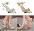 2016 nuevo estilo del verano mujeres de la moda sexy tacones altos Peep toe sandalias de tacón de aguja para mujer bombea zapatos de la celebridad oro plata
