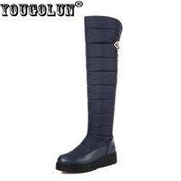YOUGOLUN Women Thigh High Snow Boots Down Warm 2017 Winter Waterproof Platform Wedges Heel 4 5