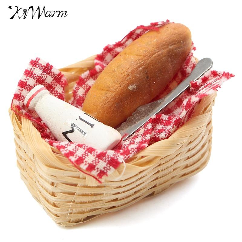 Kiwarm Mini Food Milk Bread Basket Miniatures Doll House Ornaments