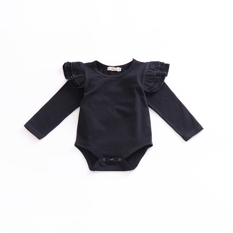 2018 Newborn Solid Color Baby Onesie Plain Baby Bodysuit Toddler Bodysuit Baby Long Sleeve Newborn Clothes Flutter Sleeve Black