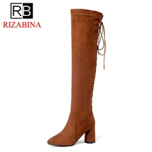 RizaBina женские облегающие высокие сапоги натуральная женская кожаная обувь зимние сапоги на высоком каблуке со шнуровкой выше колена Роскошные обувь размеры 33–40