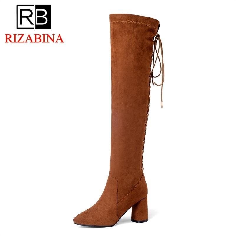 Real De Invierno La Tacón 40 Alto Tamaño Hasta caramel Botas Lujo Mujer Negro Color Rodilla Muslo Altas Encaje 33 Calzado Mujeres Cuero Zapatos Rizabina 6CwWpq0nXx